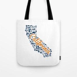 Fullerton University California Landmark State - Orange and Blue University Design Tote Bag