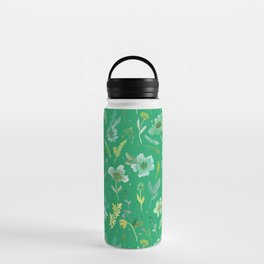 Verdant Flowers on Emerald Background Water Bottle