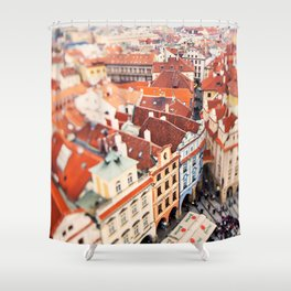 Red Roof Prague Shower Curtain