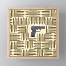 Gun and bullets Framed Mini Art Print