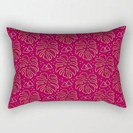 Gold Monstera on Rasberry Pink Rectangular Pillow