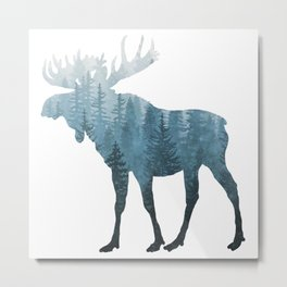 Misty Forest Moose Metal Print