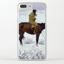 """Frederic Remington Western Art """"The Herd Boy"""" Clear iPhone Case"""