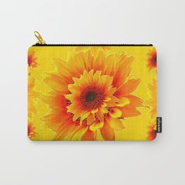 Golden Yellow Abstracted Red Sunflower Patterns Carry-All Pouch