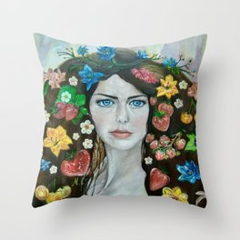 The portrait of the girl (stylized). Oil painting. Throw Pillow
