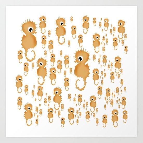 Sea horses Pattern Art Print