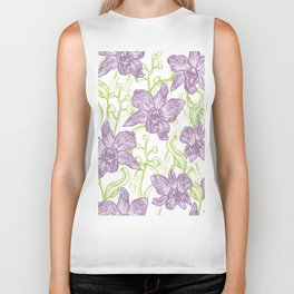 Orchid flowers. Hand drawn on white background olive Green pink purple contour sketch Biker Tank