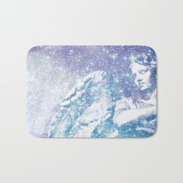 Celestial Guardian Angel Periwinkle Blue Bath Mat