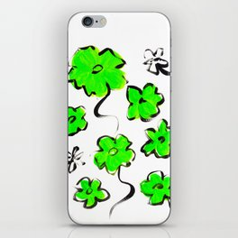 Green Flower Design iPhone Skin
