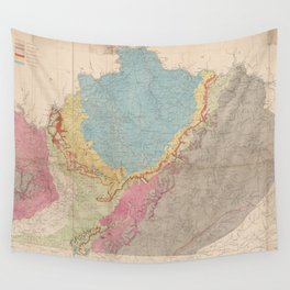 Vintage Geological Map of Kentucky (1877) Wall Tapestry