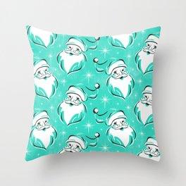 'Tis The Season Retro Santa Aqua White Pattern Throw Pillow