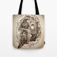 crow Tote Bags featuring Crow by Alice Macarova