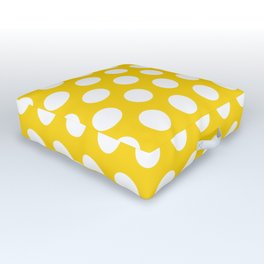 Yellow and White Polka Dots 772 Outdoor Floor Cushion