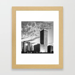Downtown Tulsa Skyline Squared in Black and White Framed Art Print