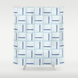 Stripes×Checkered Pattern_Ice blue&Navy Shower Curtain