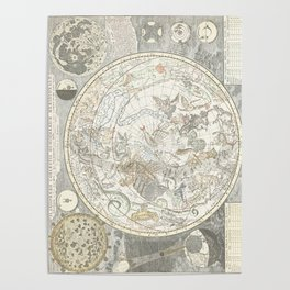 Star map of the Southern Starry Sky Poster