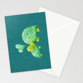 Sweet Turtle Hugs with Heart in Teal and Lime Green Stationery Cards
