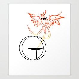 Flaming Chalice Phoenix, Unitarian Universalist Gift Art Print