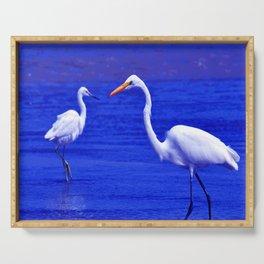 ROYAL BLUE GARZA BIRD Serving Tray
