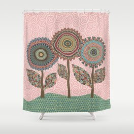 Fabby Flowers-Vintage colors Shower Curtain