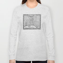 Vintage Map of Philadelphia Pennsylvania (1860) BW Long Sleeve T-shirt