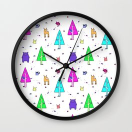 The Neon Forest Wall Clock