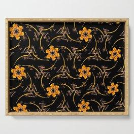 orange yellow brown black floral geometric pattern Serving Tray