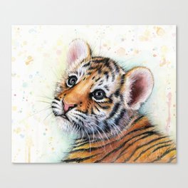 Nursery-Artwork-Tiger-Cub-Baby-Animal-Watercolor-Jungle-Safari-Animals Canvas Print