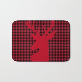 Red Plaid Deer Stag Design Bath Mat