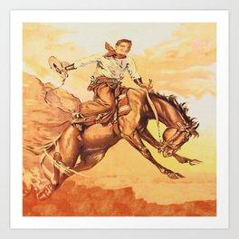 Vintage Western Cowboy On Bucking Horse Art Print