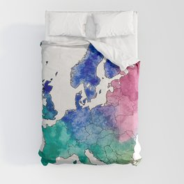 Colorful Watercolor Map of Europe Comforters