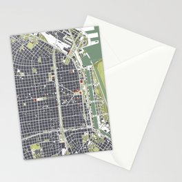 Buenos aires city map engraving Stationery Cards