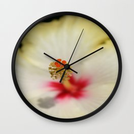 Close Up of Stamen And Pollen Yellow Hibiscus  Wall Clock