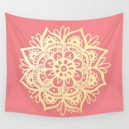 Coral Pink and Gold Mandala Wall Tapestry