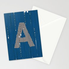 Winter clothes. Letter A. Stationery Cards