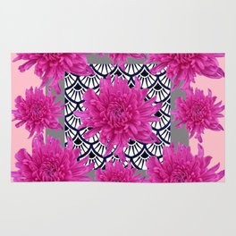 GREY ART DECO FUCHSIA CHRYSANTHEMUM FLORAL Rug
