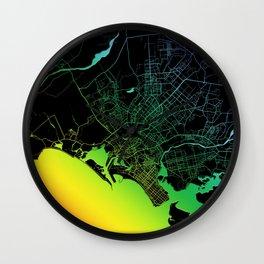 Karachi, Pakistan, City, Map, Rainbow, Map, Art, Print Wall Clock