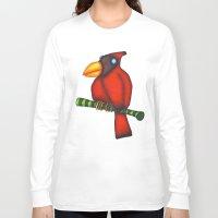 cardinal Long Sleeve T-shirts featuring Cardinal by Striped Aardvark