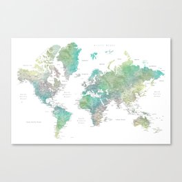 Watercolor world map in muted green and brown Canvas Print