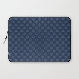 Hand painted navy blue Christmas snow flakes motif Laptop Sleeve