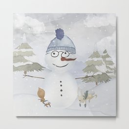 Winter Wonderland - Funny Snowman and friends - Watercolor illustration Metal Print