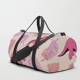 Dinosaur jungle illustration pattern hot pink girls Duffle Bag
