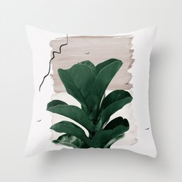 Fiddle Leaf Abstract - Naturelle #1 #minimal #wall #decor #art #society6 Throw Pillow