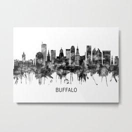 Buffalo New York Skyline BW Metal Print