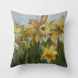 Clouds of Daffodils Throw Pillow