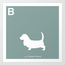 Basset Hound   Dogs series   Blue   Teal Art Print