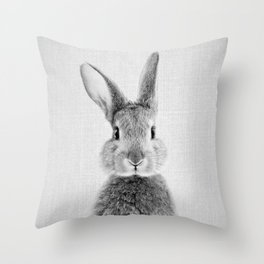 Rabbit - Black & White Throw Pillow