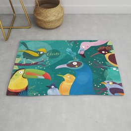 Colorful Birds in the Jungle Rug