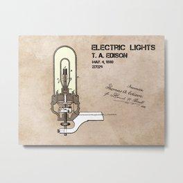 Edison electric light patent Metal Print