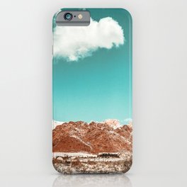 Vintage Red Rocks // Snow in the Mojave Desert Clouds Teal Sky Mountain Range Landscape iPhone Case